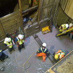 workers in deep shaft construction